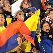 Ecuador fans celebrate a late equalizer for their side during the USA Vs Ecuador International match at Rentschler Field, Hartford, Connecticut. USA. 10th October 2014. Photo Tim Clayton