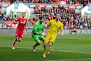 Burton Albion striker Cauley Woodrow (12) misses a chance during the EFL Sky Bet Championship match between Bristol City and Burton Albion at Ashton Gate, Bristol, England on 4 March 2017. Photo by Richard Holmes.