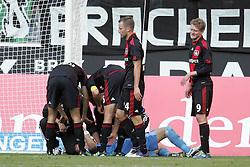 15.10.2011,  BorussiaPark, Mönchengladbach, GER, 1.FBL, Borussia Mönchengladbach vs Bayer 04 Leverkusen, im Bild.Bernd Leno (Torwart Leverkusen/Leihe aus Stuttgart) liegt nach einem tollen Reflex in der Schlussphase benommen am Boden..// during the 1.FBL, Borussia Mönchengladbach vs Bayer 04 Leverkusen on 2011/10/13, BorussiaPark, Mönchengladbach, Germany. EXPA Pictures © 2011, PhotoCredit: EXPA/ nph/  Mueller *** Local Caption ***       ****** out of GER / CRO  / BEL ******