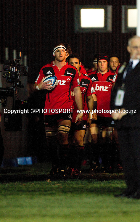 Crusaders captain Kieran Read leads his team through the tunnel and out onto the field. Super Rugby game between the Crusaders and the Stormers. Crusaders new Christchurch Stadium at Rugby League Park, Saturday 14 April 2012. Photo : Joseph Johnson / photosport.co.nz