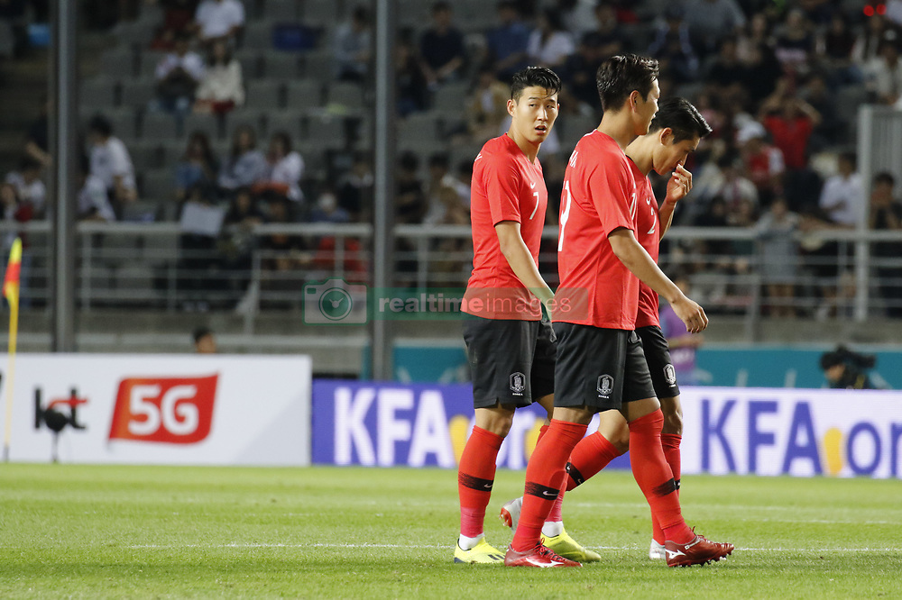 September 7, 2018 - Goyang, Gyeonggi, South Korea - September 7, 2018-Goyang, South Korea-Son Heungmin of South Korea, center, action on the field during an Football A Match South Korea vs Costa Rica at Goyang Sports Complex in South Korea. Match Won South KOrea, Score by 2-0. (Credit Image: © Ryu Seung-Il/ZUMA Wire)
