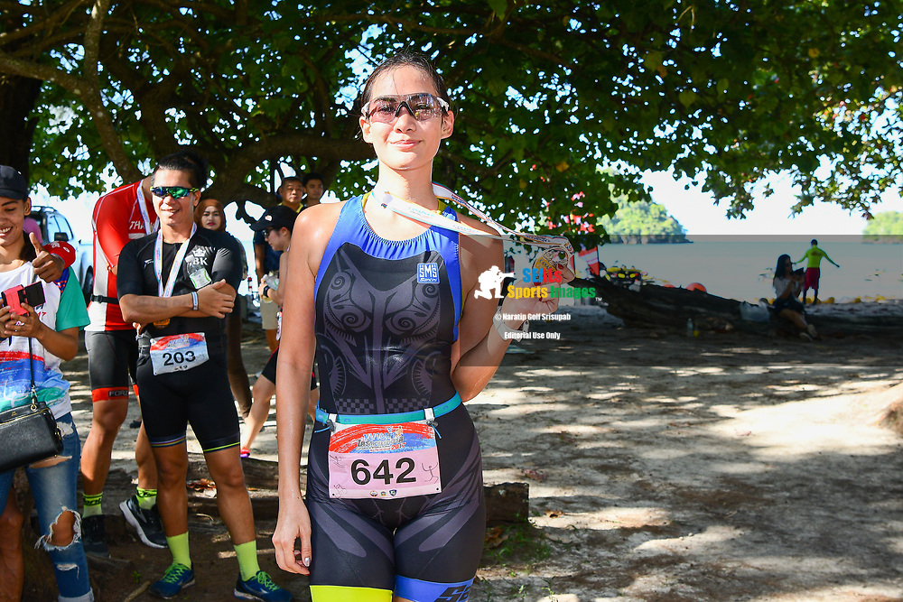 KRABI, THAILAND - SEPTEMBER 03: Manow Phoranee Srithan of Thailand with her finishing medal at the Kanabnam International Triathlon Krabi 2017 at Nopharat Thara Beach, Ao Nang, Krabi, Thailand on September 03, 2017.<br /> .<br /> .<br /> .<br /> (Photo by: Naratip Golf Srisupab/SEALs Sports Images)<br /> .<br /> Any image use must include a mandatory credit line adjacent to the content which should read: Naratip Golf Srisupab/SEALs Sports Images
