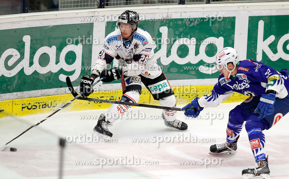 03.03.2015, Stadthalle, Villach, AUT, EBEL, EC VSV vs SAPA Fehervar AV19, Plazierungsrunde, im Bild v.l. Michael Boivin (Sapa Fehervar) und Adis Alagic (VSV) // during the Erste Bank Icehockey League placement round match between EC VSV vs SAPA Fehervar AV19 at the City Hall in Villach, Austria on 2015/03/03, EXPA Pictures © 2015, PhotoCredit: EXPA/ Oskar Hoeher
