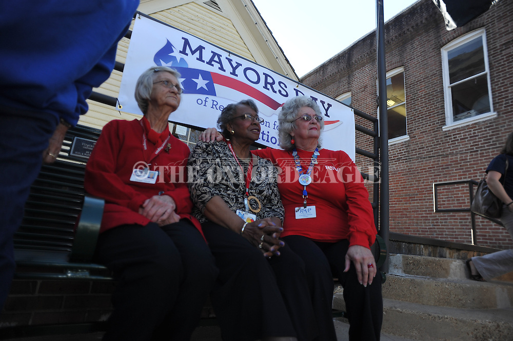 Volunteers (from l.) Carmita Tidwell, Margie Nell Mathis, and Valerie Chavis were among those recognized by Mayor Pat Patterson, at City Hall in Oxford, Miss. on Tuesday, April 1, 2014.