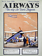 Loading a biplane with passengers and luggage at Croydon Aerodrome, London. Cover of 'Airways' magazine, London, June 1925.