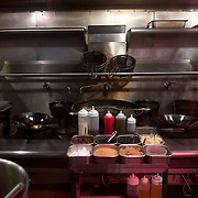 Chef Danny Bowien's restaurant, Mission Chinese, is photographed at its New York City location on the Lower East Side of Manhattan on Tuesday, July 31, 2012 in New York, NY. The kitchen sits ready for a day of action before the start of the lunch shift. .