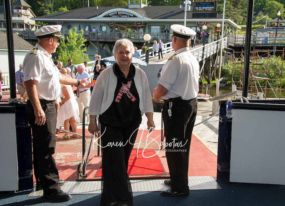 Boarding for the Belknap Republican cruise on the M/S Mt Washington Friday evening. (Karen Bobotas/for the Laconia Daily Sun)