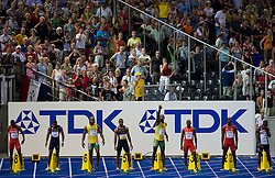 Darvis Patton of United States, Asafa Powell of Jamaica, Tyson Gay of United States, Usain Bolt of Jamaica and Daniel Bailey of Antigua and Barbuda compete in the men's 100 Metres Final during day two of the 12th IAAF World Athletics Championships at the Olympic Stadium on August 16, 2009 in Berlin, Germany. (Photo by Vid Ponikvar / Sportida)