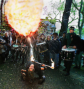 Following a May Day protest march in Portland, a group of revelers descend on the Park Blocks to continue making noise, playing music and spitting fire.