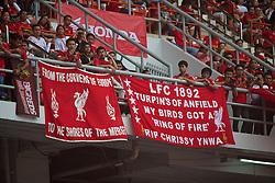BANGKOK, THAILAND - Sunday, July 28, 2013: Liverpool supporters' banners during a preseason friendly match against Thailand XI at the Rajamangala National Stadium. (Pic by David Rawcliffe/Propaganda)