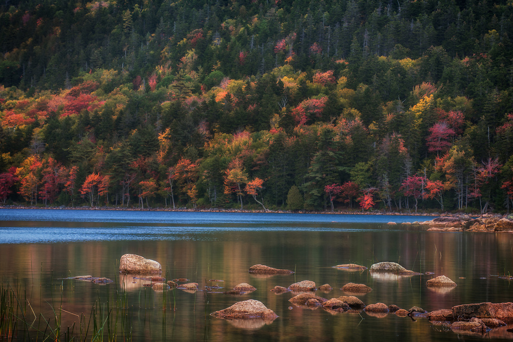 Autumn reflections at Jordon Pond, Acadia National Park, Maine