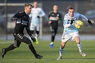 FODBOLD: Lucas Haren (FC Helsingør) følges af Philip Olsen (AB) under træningskampen mellem FC Helsingør og AB den 19. januar 2019 på Snekkersten Idrætscenter. Foto: Claus Birch