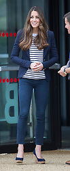 The Duchess of Cambridge today attended a Sport Aid Athletes Workshop. the Olympic Park, Stratford, London, United Kingdom. She watched demonstrations of various sports and joined in with a game of volleyball. Friday, 18th October 2013. Picture by i-Images