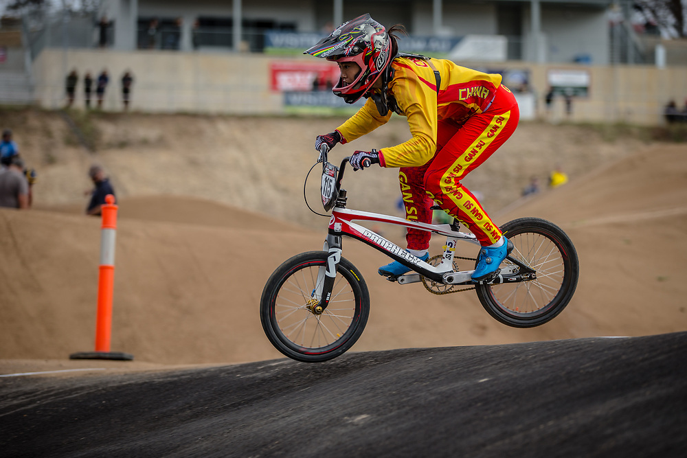 #115 (ZHANG Yaru) CHN at Round 3 of the 2020 UCI BMX Supercross World Cup in Bathurst, Australia.