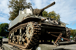 Stuart M5A1 light tank 'USA 3089570' loaded on a tank transporter at Rufford Abbey 1940's Weekend<br /> <br />   30 September 2017 <br />   Copyright Paul David Drabble<br />   www.pauldaviddrabble.co.uk