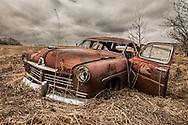 Antique Car in Prairie Grass, Alberta Canada