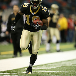 2007 December, 16: New Orleans Saints wide receiver Terrance Copper (18)  prior to kickoff of a 31-24 win by the New Orleans Saints over the Arizona Cardinals at the Louisiana Superdome in New Orleans, LA.