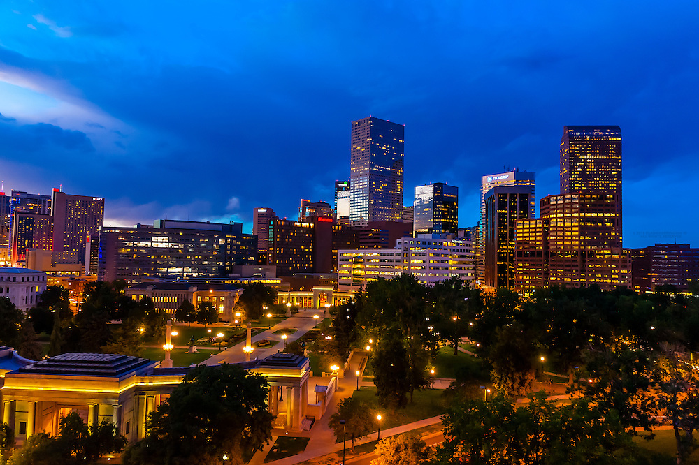 Downtown skyline with Civic Center Park in foreground, Denver, Colorado USA.