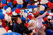 Vice Presidential candidate Paul Ryan of Wisconsin bask in the balloon shower along with the Romney and Ryan families after the Acceptance speech by Presidential Hopeful Mitt Romney at the GOP National Convention held at the Tampa Bay Forum.