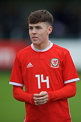 NEWPORT, WALES - Monday, October 14, 2019: Wales' Harry Pinchard lines-up before an Under-19's International Friendly match between Wales and Austria at Dragon Park. (Pic by David Rawcliffe/Propaganda)