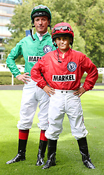 Frankie Dettori and his son Rocco during a media day at Ascot Racecourse, Esher.