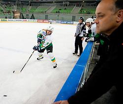 Zvone Bolta (right) and Joze Kovac during ice-hockey friendly match between legends of HDD Tilia Olimpija and HK Acroni Jesenice, on April 14, 2012 at SRC Stozice, Ljubljana, Slovenia. (Photo By Matic Klansek Velej / Sportida.com)