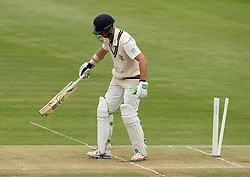 Middlesex's James Franklin is bowled - Photo mandatory by-line: Robbie Stephenson/JMP - Mobile: 07966 386802 - 03/05/2015 - SPORT - Football - London - Lords  - Middlesex CCC v Durham CCC - County Championship Division One
