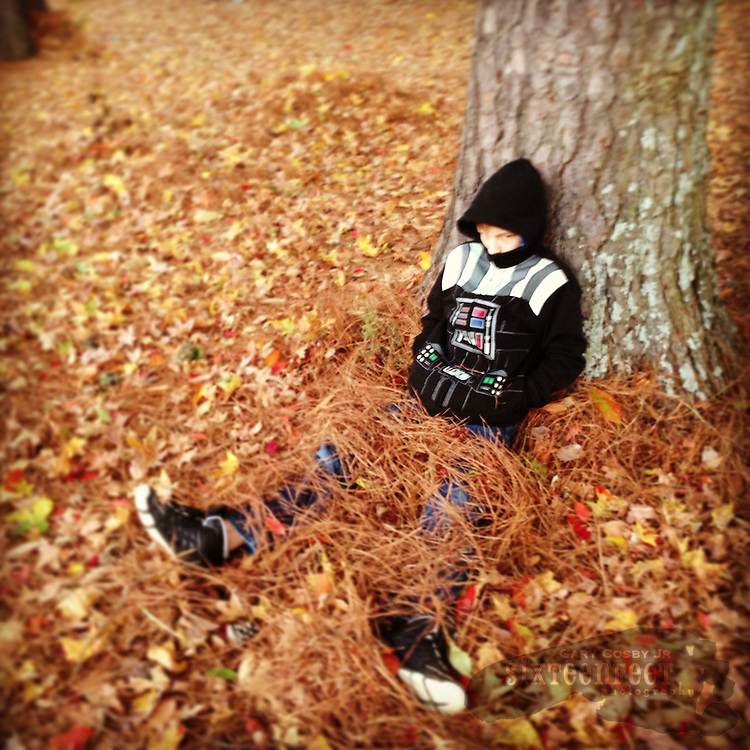 Gary Cosby Jr.  iPhone photographs  A child playing in leaves rests beside a tree.