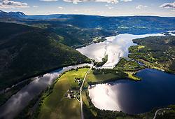 Aerial photo of Gulsvik with Krøderen