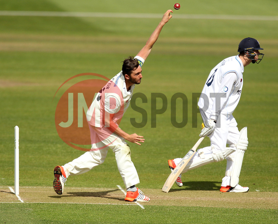 Gloucestershire's Matt Taylor bowls - Photo mandatory by-line: Robbie Stephenson/JMP - Mobile: 07966 386802 - 28/04/2015 - SPORT - Cricket - Bristol - The County Ground - Gloucestershire v Derbyshire - County Championship Division Two