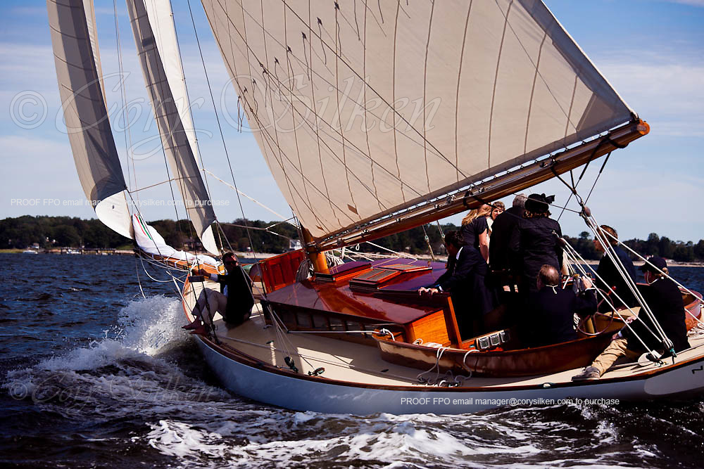 Nellie sailing in the Indian Harbor Classic Yacht Regatta.