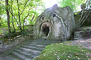 Park of the Monsters (1552). Devised by the architect Pirro Ligorio on commission of Prince Pier Franceso Orsini, called Vicino, to vent the Prince's broken heart at the death of his wife Giulia Farnese. Bomarzo, Italy.