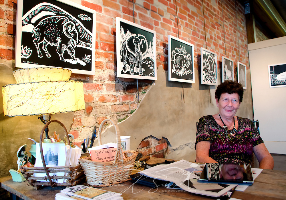 Artist Hanne Gaycken works in Bozart's Gallery, where she is one of 15 artists who make up the Bozart's Alliance in Water Valley, Mississippi. (Photo by Carmen K. Sisson/Cloudybright)