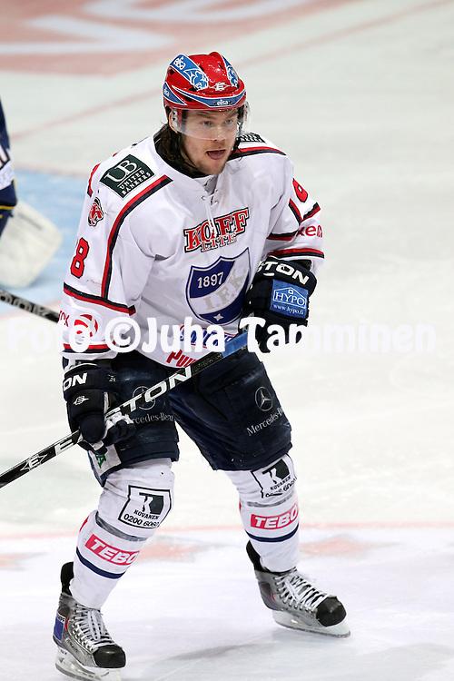 14.4.2011, Barona Areena, Tapiola, Espoo..J??kiekon SM-liiga 2010-11, play-offs: 2. loppuottelu Blues - HIFK. .Mikko Kousa - HIFK.©Juha Tamminen.