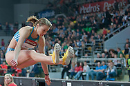 Teresa Dobija of Poland competes women's long jump during athletics meeting Pedro's Cup 2014 2014 at Luczniczka Hall in Bydgoszcz, Poland.<br /> <br /> Poland, Bydgoszcz, January 31, 2014.<br /> <br /> Picture also available in RAW (NEF) or TIFF format on special request.<br /> <br /> For editorial use only. Any commercial or promotional use requires permission.<br /> <br /> Mandatory credit:<br /> Photo by © Adam Nurkiewicz / Mediasport
