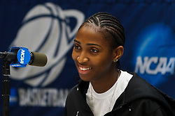 March 18, 2011; Stanford, CA, USA; St. John's Red Storm guard Shenneika Smith (35) at a press conference the day before the first round of the 2011 NCAA women's basketball tournament at Maples Pavilion.
