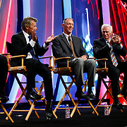 Pilots Harrison Ford, Shawn Tucker, Gene Cernan and Fig Newton applaud FAA Administrator Randy Babbitt during the pilot round table on at the annual NBAA meeting on October 11, 2011 in Las Vegas, Nevada.