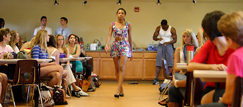 Models show designer L'Amour A-K Ameer their runway walk as he auditions prospective models during a Dayton Fashion Week meeting at SunWatch Indian Village/Archaeological Park in Dayton, Saturday, July 21, 2012.  Designers were both selecting models and doing fittings of their clothes at the meeting, in preparation for Dayton Fashion Week, which begins with Fashion For A Cause on July 21st, and concludes with the Finale Runway Showcase at the Dayton Convention Center on July 28th.