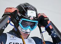 Ski Alpin; Saison 2006/2007  Riesenslalom Herren Ted Ligety (USA) am Start, mit aufgemaltem Barth auf den Kaelteschutz