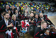 UNITED KINGDOM, London: 2015 World Wheelchair Rugby Challenge. Caption: Canadian players and coaching staff celebrate their victory after beating USA in the World Wheelchair Rugby Championship Finals. Rick Findler / Story Picture Agency