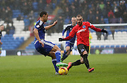 Cardiff City defender, Lee Peltier (2) turns away from Jiri Skalak during the Sky Bet Championship match between Cardiff City and Brighton and Hove Albion at the Cardiff City Stadium, Cardiff, Wales on 20 February 2016.