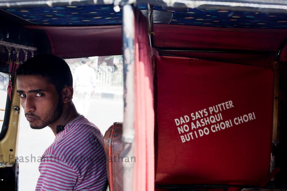 A punjabi migrant auto rickshaw driver Srinagar September 2011, Kashmir, India. Photographer: Prashanth Vishwanathan