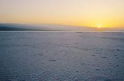 Djibouti. Lake Assal. Sunrise on the salt banks.