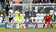 Preston North End Striker Joe Garner (14) shoots over the bar during the Sky Bet Championship match between Preston North End and Brighton and Hove Albion at Deepdale, Preston, England on 5 March 2016.