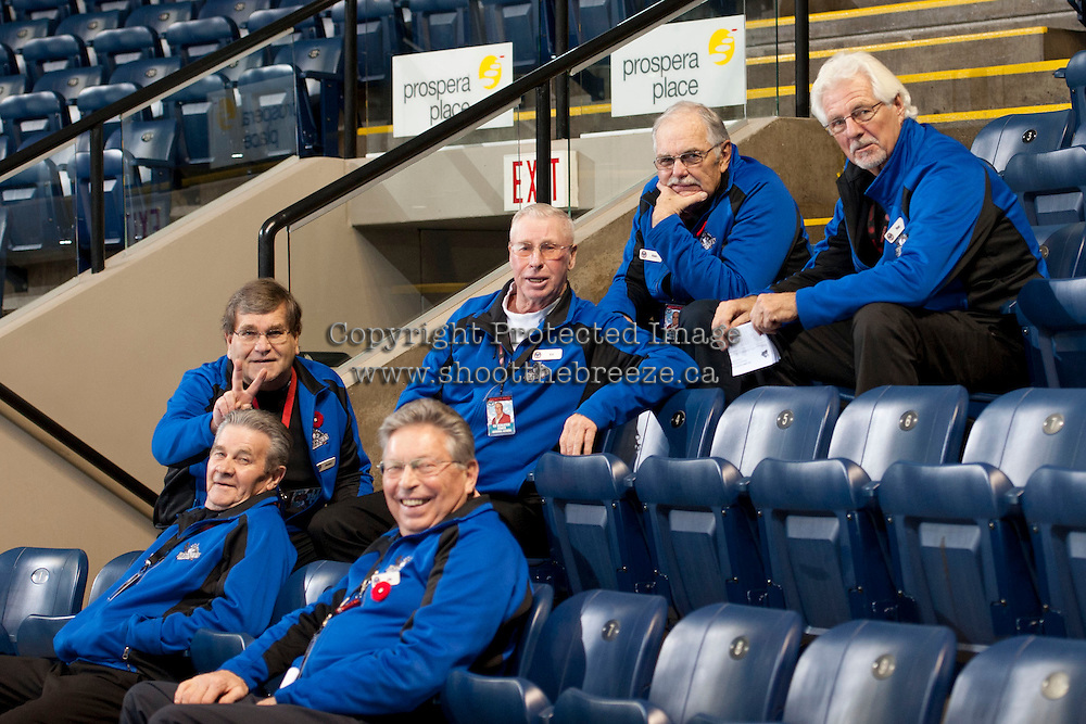 KELOWNA, CANADA - NOVEMBER 6: The Kelowna Rocket's' volunteer ushers have a pre-game discussion on NOVEMBER 6, 2013 at Prospera Place in Kelowna, British Columbia, Canada.   (Photo by Marissa Baecker/Shoot the Breeze)  ***  Local Caption  ***