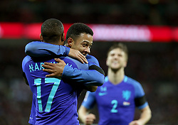 Luciano Marsingh of the Netherlands (L) celebrates after scoring with his teammate during the International Friendly Match between England and the Netherlands at Wembley Stadium in London, Britain, on March 29, 2016. England lost 1-2. EXPA Pictures © 2016, PhotoCredit: EXPA/ Photoshot/ Han Yan<br /> <br /> *****ATTENTION - for AUT, SLO, CRO, SRB, BIH, MAZ, SUI only*****