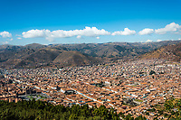 aerial view of Cuzco city in the peruvian Andes Peru