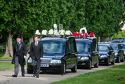 © Licensed to London News Pictures. 05/05/2017. London, UK. The funeral procession arrives at the crematorium. The funeral of Westminster Terror attack victim Leslie Rhodes takes place at North East Surrey Crematorium in Morden, South London. Leslie Rhodes, who was Winston Churchill's former window cleaner, suffered serious injuries when terrorist Khalid Masood mowed down and killed 4 pedestrians on Westminster Bridge before attacking and killing a police officer with a knife.  Photo credit: Ben Cawthra/LNP