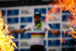 Podium with 1st Peter SAGAN, 2nd Silvan DILLIER and 3rd Niki TERPSTRA after the 2018 Paris-Roubaix race, Velodrome Roubaix, France, 8 April 2018, Photo by Thomas van Bracht / PelotonPhotos.com | All photos usage must carry mandatory copyright credit (Peloton Photos | Thomas van Bracht)