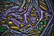 Close up shot of graffiti in downtown Phoenix, Arizona. The historic art district features many old buildings covered with graffiti.